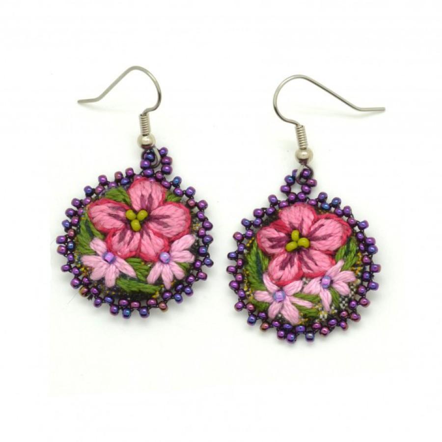Embroidered Flower Earrings