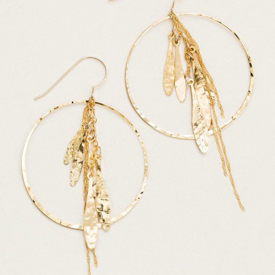 Hammered Precious Metal with cascading droplets Hoops