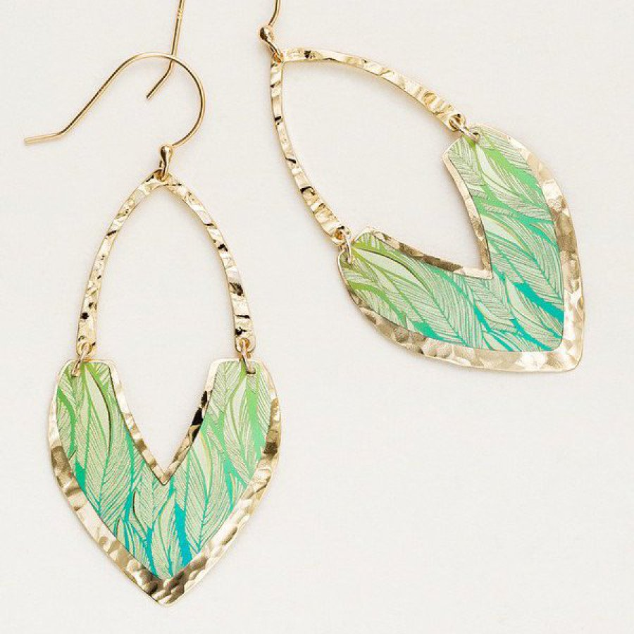 hand-colored niobium green leaf earrings