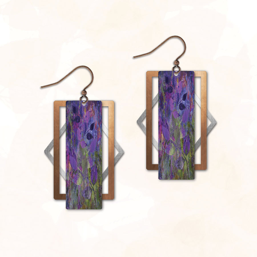 earrings handcrafted UV giclee print with patina metal