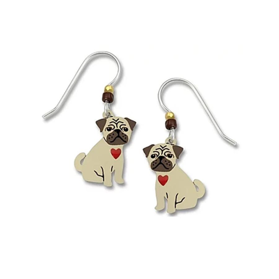 Pug with heart earrings