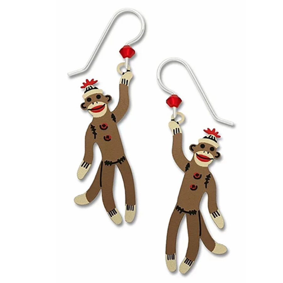 Sock monkey earrings