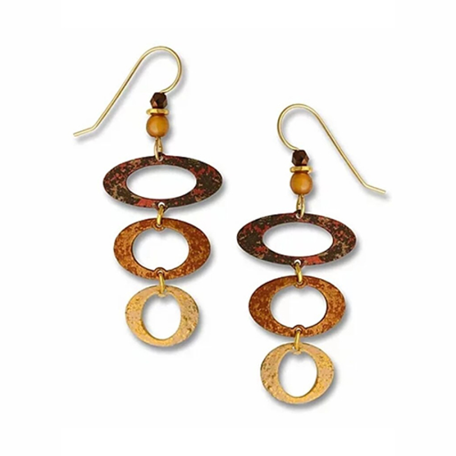 Earrings Brown and Sand Descending ovals
