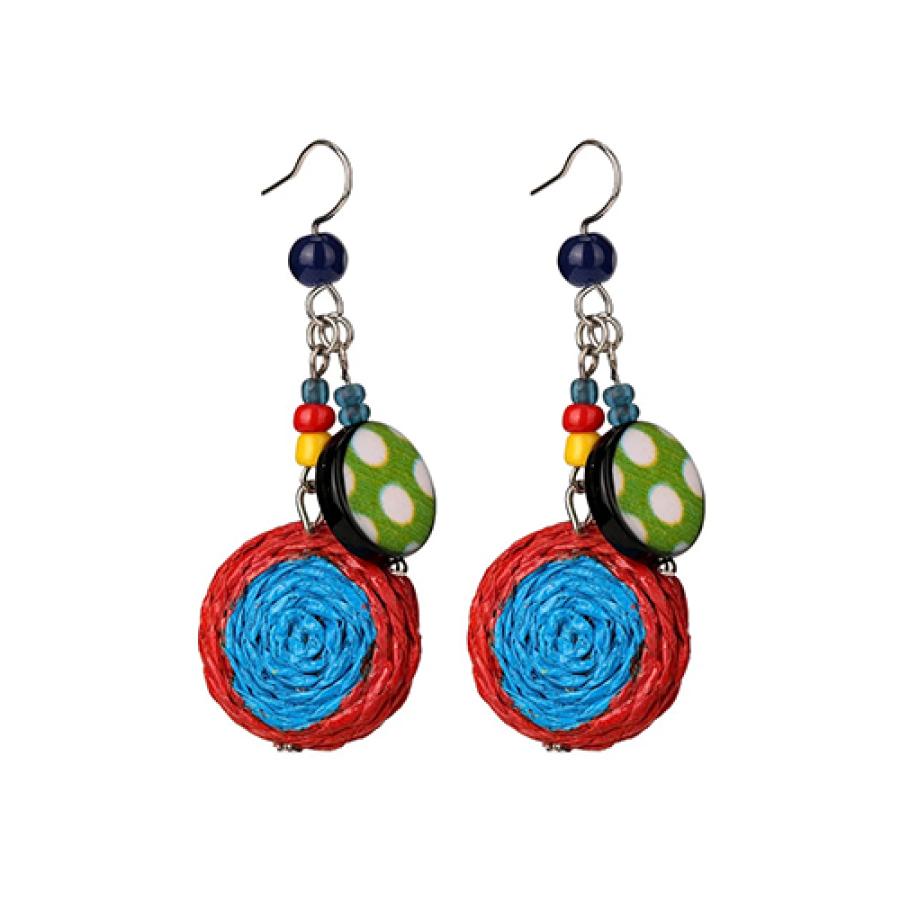 Earrings Cluster Drop Blue green yellow orange