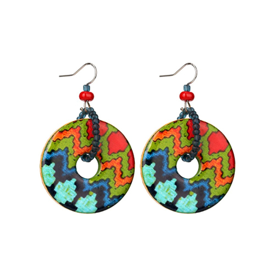 Printed Ring Drop Earrings