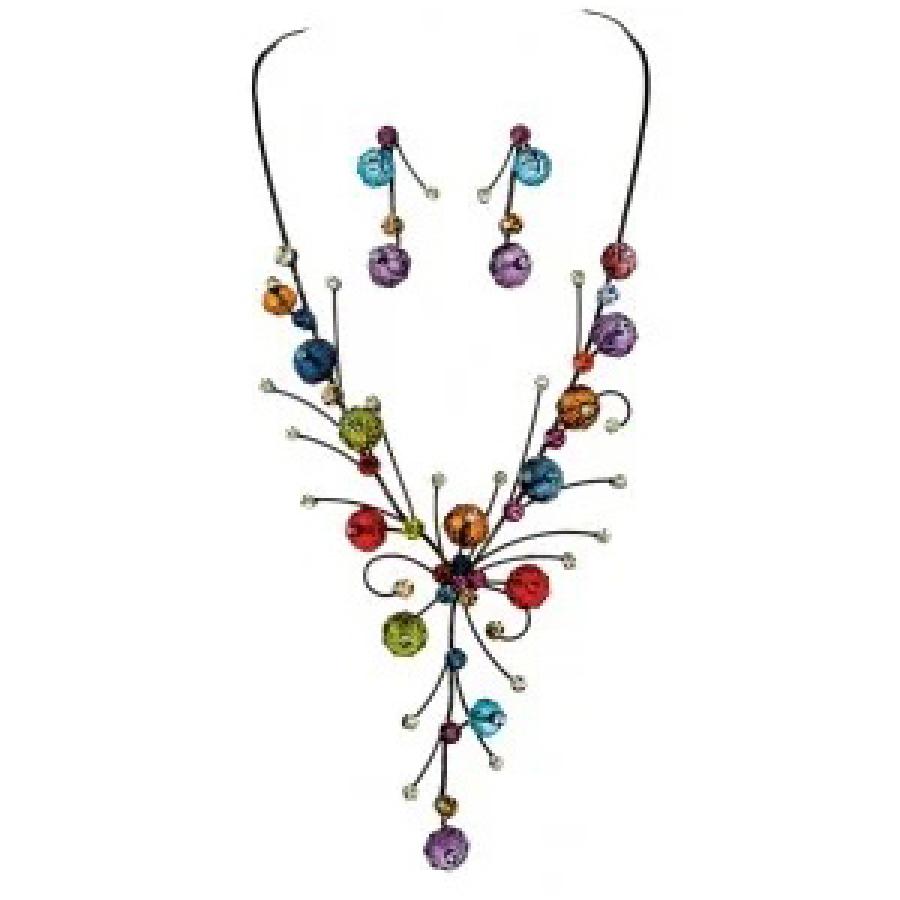 Floral gem necklace earring set