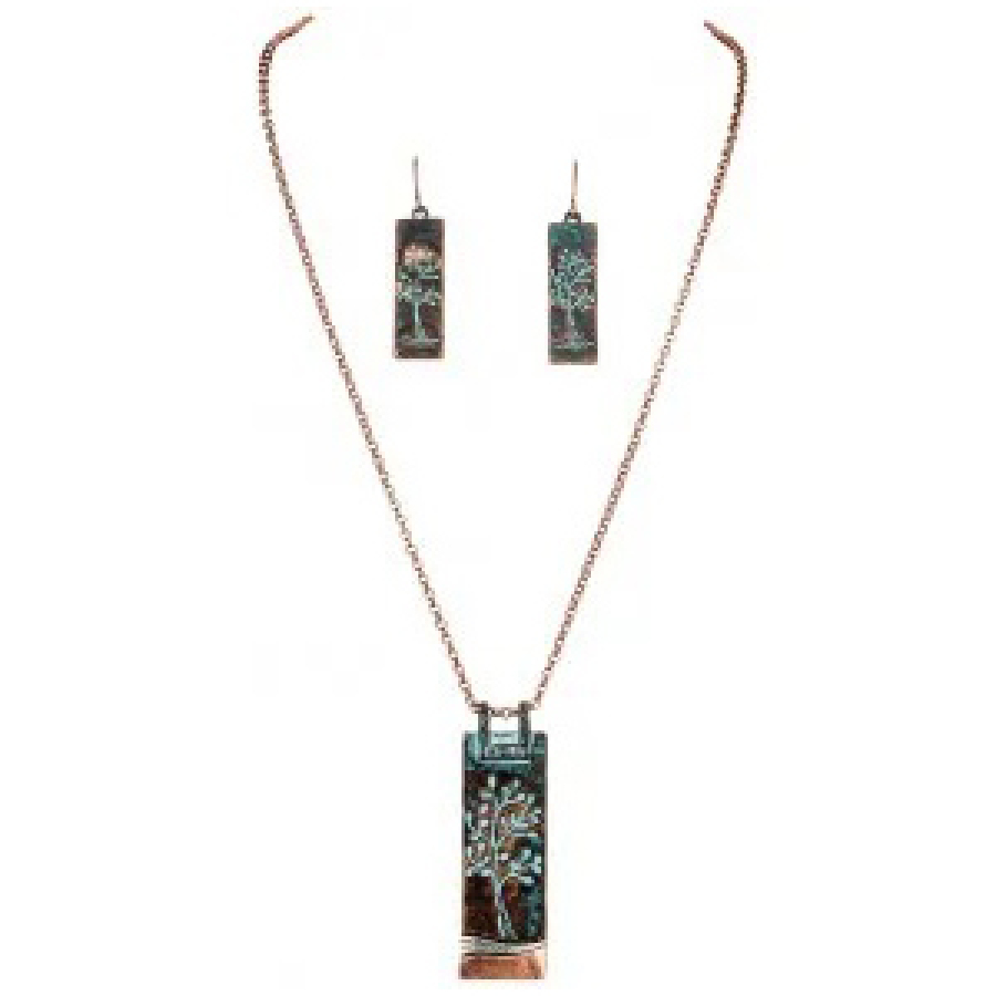 Etched Tree of life patina Earring Necklace set