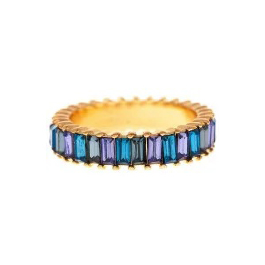 Blue Baguette Thin Ring